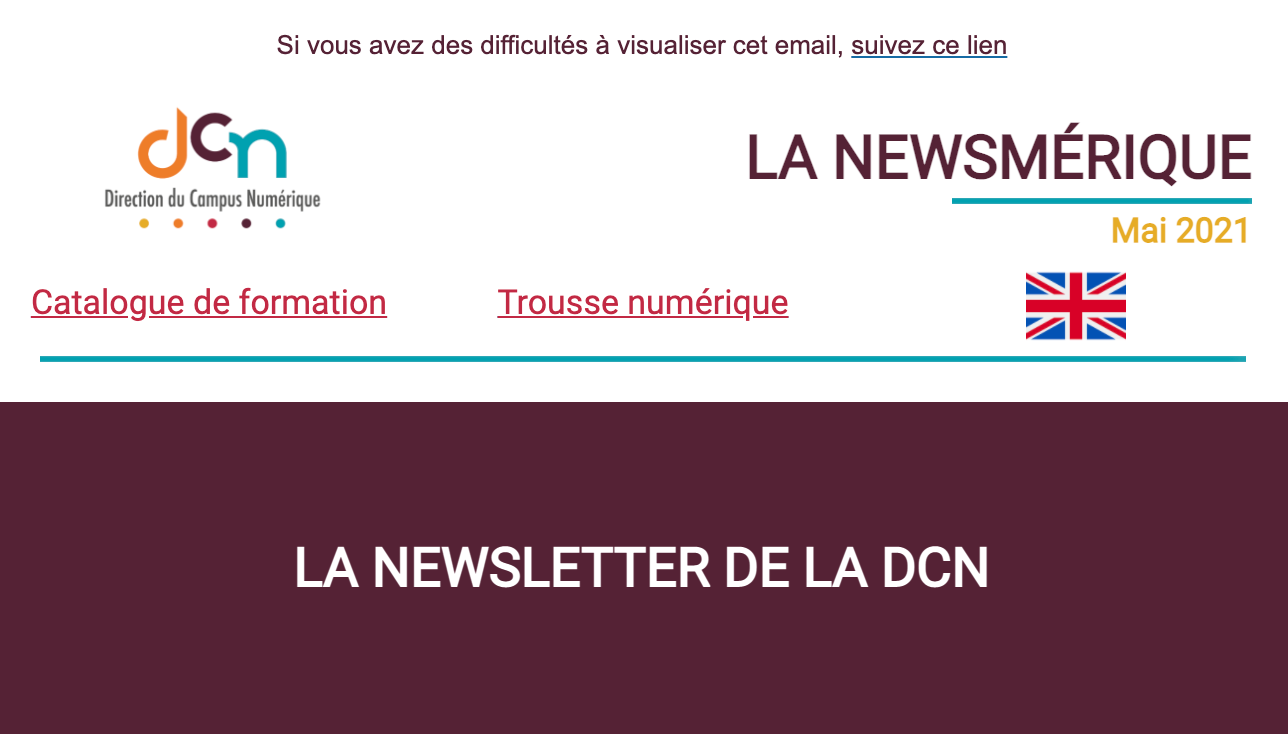 capture d'ecran de la newsletter numero 2